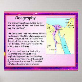 História, geografia de Egipto antigo Poster