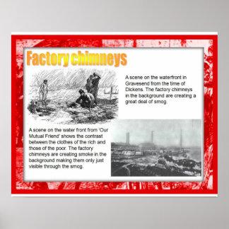 História, literatura, Dickens, chaminés da fábrica Posteres