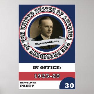 História presidencial de Calvin Coolidge retro Pôster