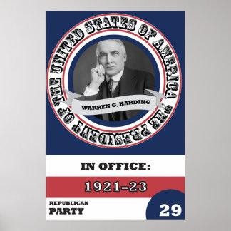 História presidencial de Warren G. Harding retro Pôster