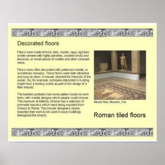 História, romanos antigos, assoalhos de mosaico poster