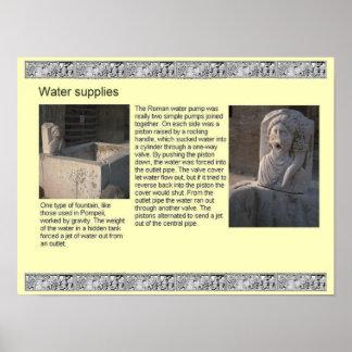 História, romanos, fontes de água poster