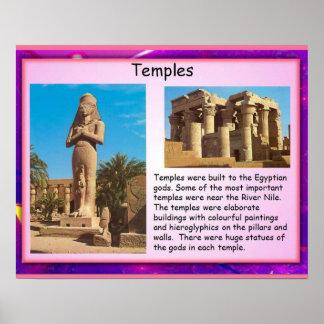 História, templos de Egipto antigo Poster
