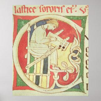 """Historiated rubrica """"C"""" que descreve uma monge Impressão"""