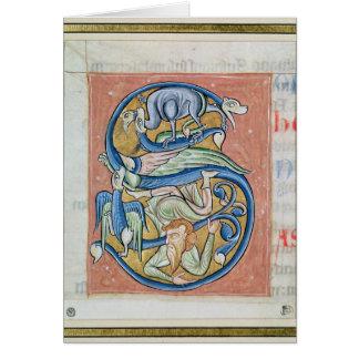 """Historiated rubrica """"S"""" que descreve uma acrobata Cartão"""