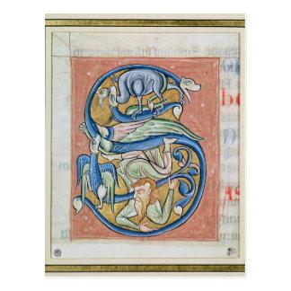 """Historiated rubrica """"S"""" que descreve uma acrobata Cartão Postal"""