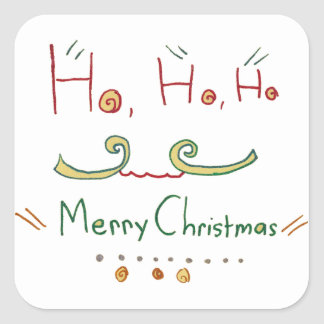 HO HO HO etiqueta do Feliz Natal Adesivo Quadrado
