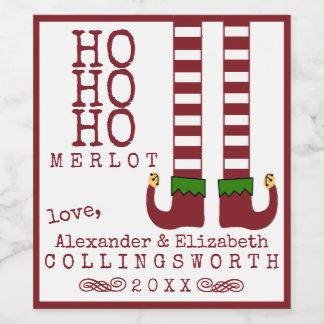 Ho Ho Ho etiqueta do vinho do Natal do Merlot