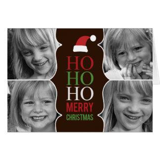 HO HO HO Natal/cartão com fotos do feriado Cartão Comemorativo
