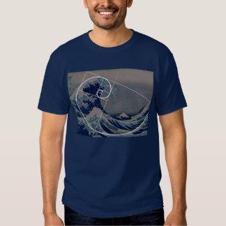 Hokusai encontra Fibonacci, relação dourada Tshirts
