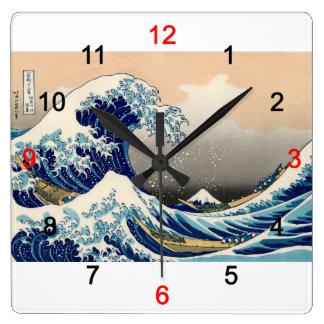 """Hokusai , """"KANAGAWAOKINAMIURA"""" Relógio Quadrado"""