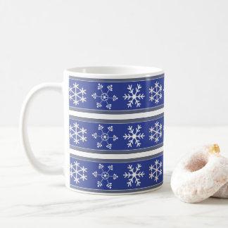 #HolidayZ azul e branco da caneca do floco de neve