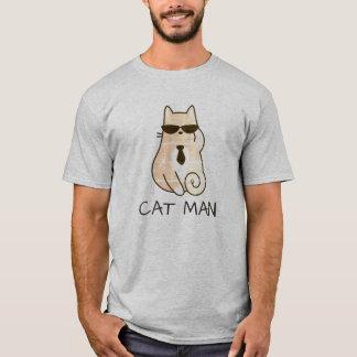 Homem bonito engraçado do gato camiseta
