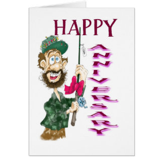 Homem com aniversário feliz do pólo de pesca cartões