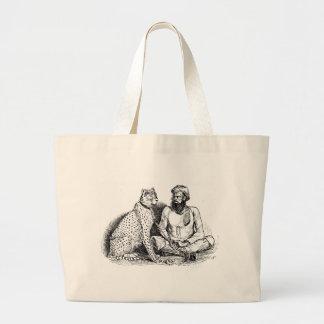 Homem com leopardo bolsa para compras