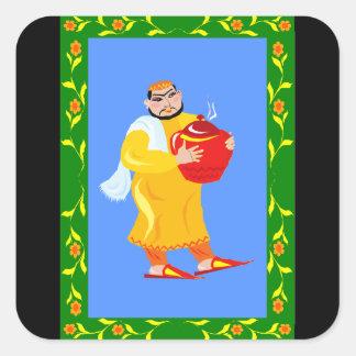 Homem com o pote da comida adesivo quadrado