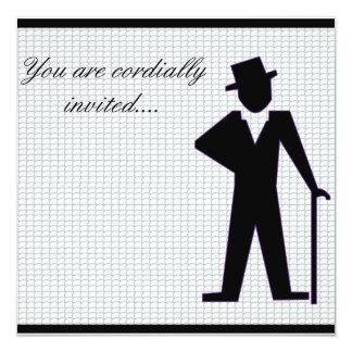 Homem da dança convite quadrado 13.35 x 13.35cm