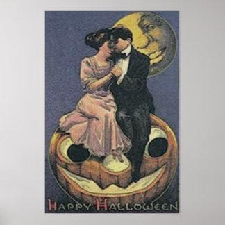 Homem da lanterna de Jack O do casal na lua Poster