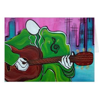 Homem da música cartão comemorativo