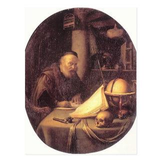Homem de Gerrit Dou interrompido em sua escrita Cartão Postal