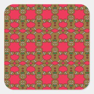 Homem de pão-de-espécie brilhante adesivo quadrado