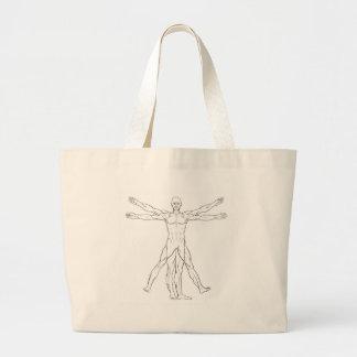 Homem de Vitruvian do estilo de da Vinci Bolsa Tote Grande