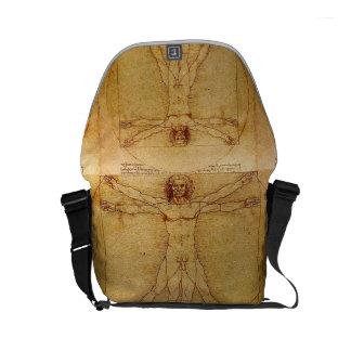 Homem de Vitruvian por Leonardo da Vinci Bolsas Mensageiro