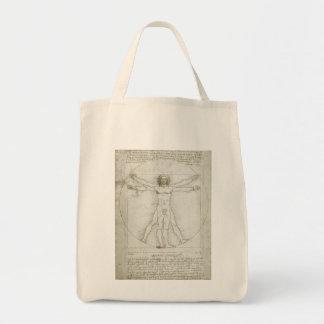 Homem de Vitruvian por Leonardo da Vinci Sacola Tote De Mercado