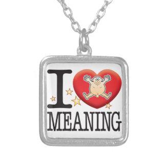 Homem do amor do significado colar com pendente quadrado