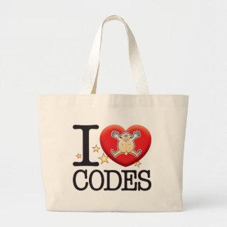 Homem do amor dos códigos sacola tote jumbo