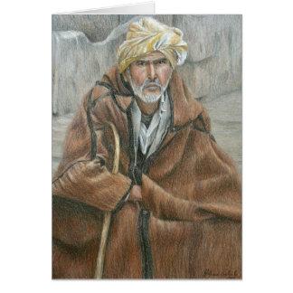 Homem do casaco de Qashabia Cartão Comemorativo