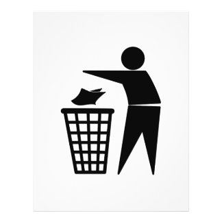 Homem do lixo que despeja o lixo de papel panfleto