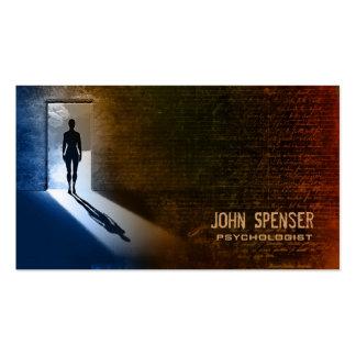 Homem do psicólogo no cartão de visita da sombra