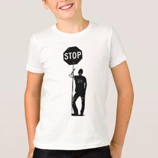 Homem do vintage com arte do sinal da parada camiseta