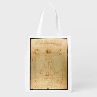 Homem do Vitruvian de da Vinci Sacolas Ecológicas