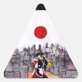 Homem japonês em uma paisagem japonesa adesivo triangular