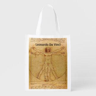 Homem-Leonardo da Vinci de Vitruvian Sacola Ecológica Para Supermercado