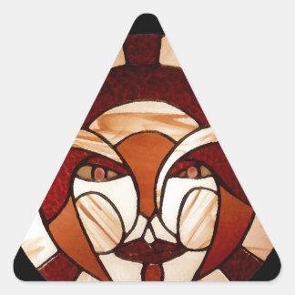Homem na noite do preto do vitral da lua adesivos triângulo