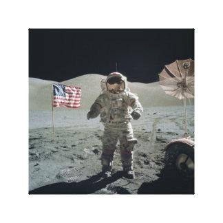 Homem no impressão das canvas da lua