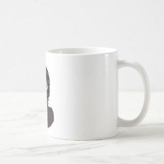 Homem no respirador caneca de café