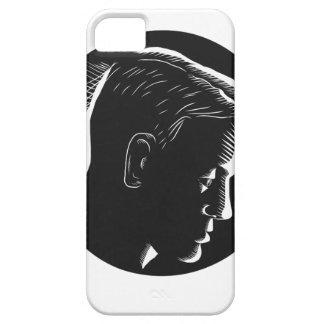 Homem pensativo no Woodcut profundo do círculo do Capas Para iPhone 5