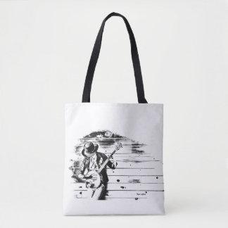 Homem preto & branco do banjo - o bolsa branco do