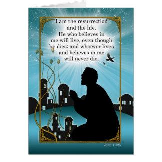 Homem religioso do cartão de páscoa que Praying a