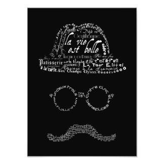Homem tipográfico com bigode, vidros e chapéu impressão de foto