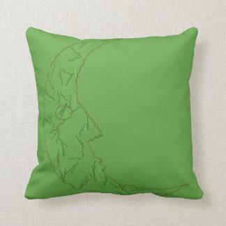 Homem verde no travesseiro reversível do algodão almofada