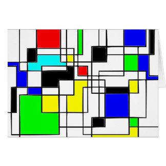 Homenagem aleatória dos quadrados a Mondrian Cartão Comemorativo