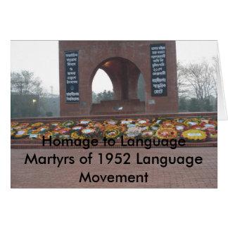 Homenagem aos mártir da língua do La 1952… Cartão Comemorativo