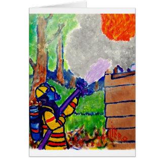Homenagem aos sapadores-bombeiros por Piliero Cartão Comemorativo