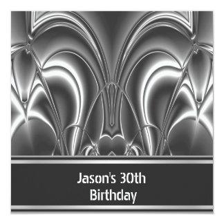 Homens de prata pretos 30os da festa de convite quadrado 13.35 x 13.35cm