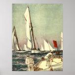 Homens dos veleiros do vintage que navegam Willy a Poster